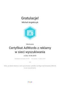 Certyfikat z reklamy AdWords w sieci wyszukiwania